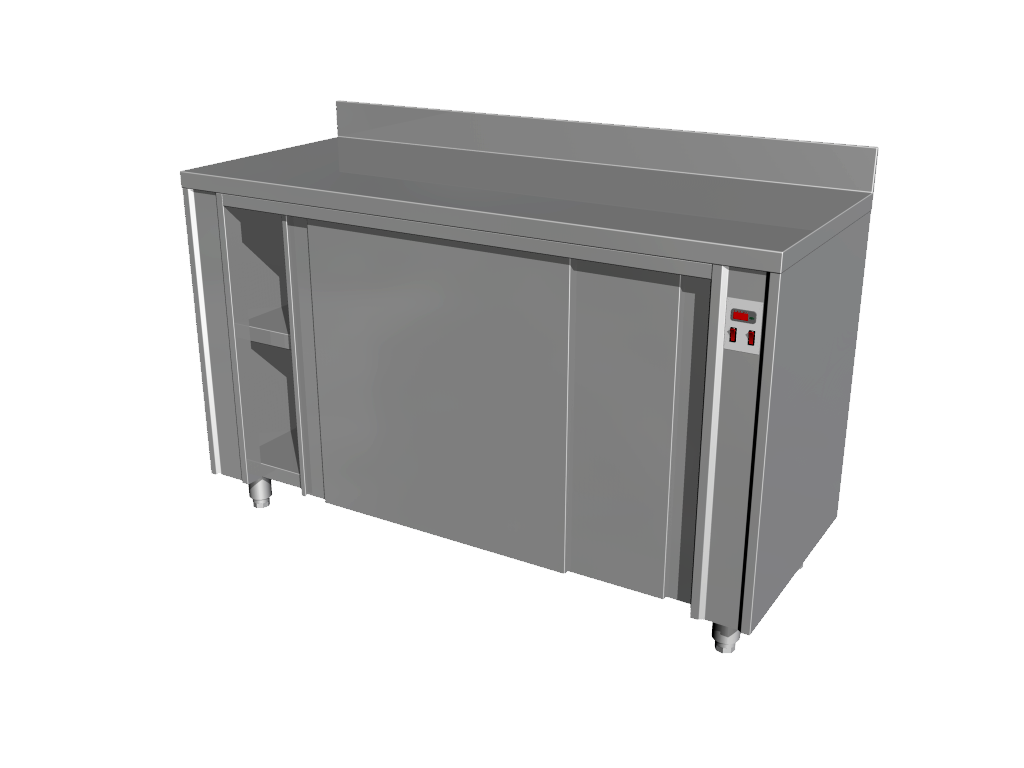 Neutral work tables with heated cupboard